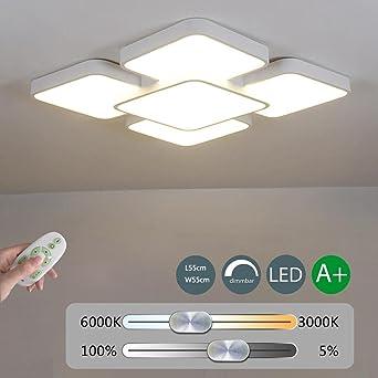 48W LED Deckenleuchte Dimmbar Schlafzimmer Lampe Minimalistische ...
