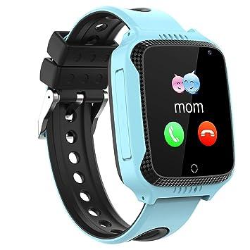 Niños Smartwatch Phone,Reloj Teléfono con GPS LBS Tracker Chat de voz SOS Cámara Despertador Podómetro Linterna para Mirar Regalos Niño Niña ...