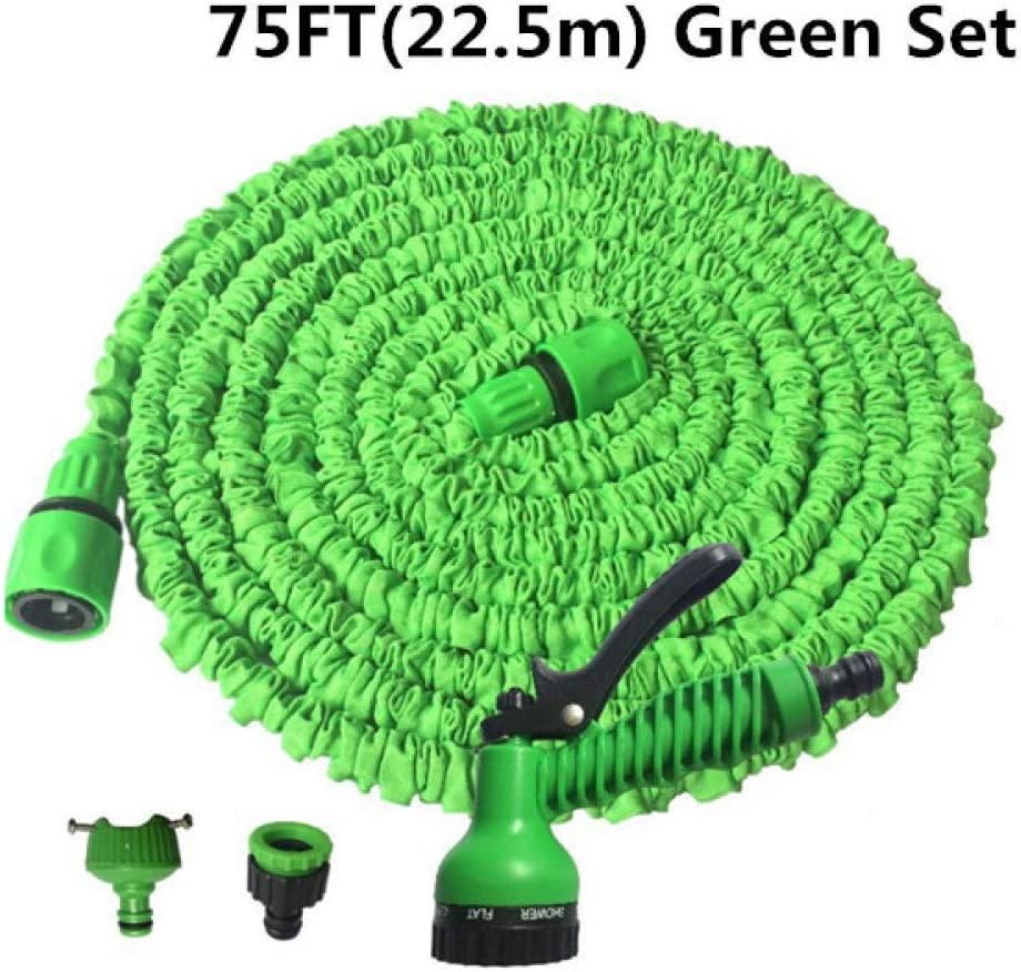 garden hose expandable, 3 times retractable light water pipe, with 7 function car Sprinkler, used for car washing, garden watering For courtyard gardens Green 75FT