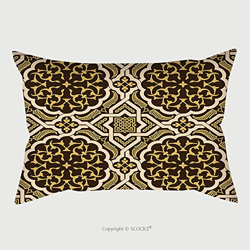 Custom Satin Pillowcase Protector Arabic Floral Seamless Pattern Traditional Arabic Islamic Background Mosque Decoration Element 445449676 Pillow Case Covers Decorative by chaoran