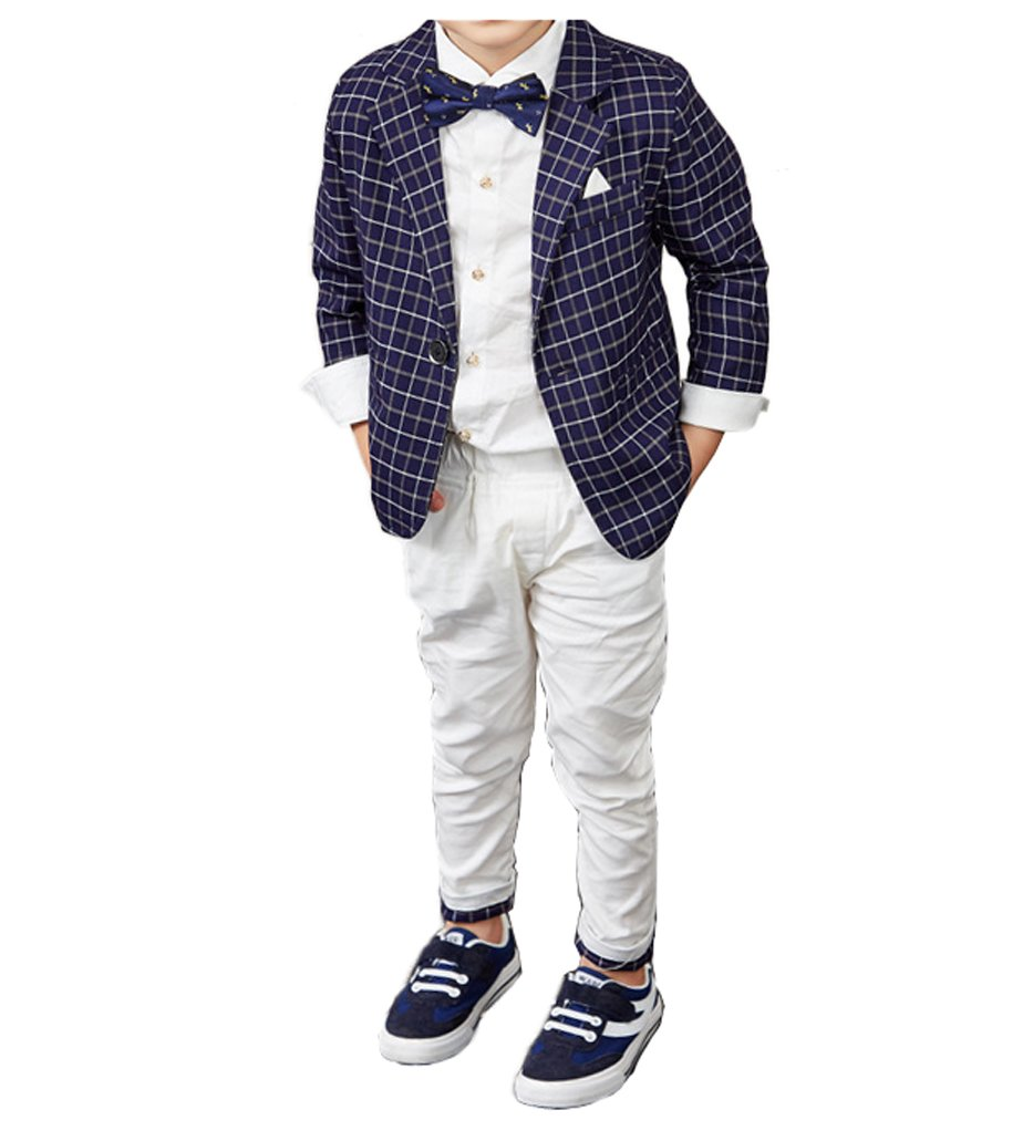 YUFAN Boys Spring Summer Casual Suit Set Green/Navy Plaid Jacket and Pants 2 Pcs