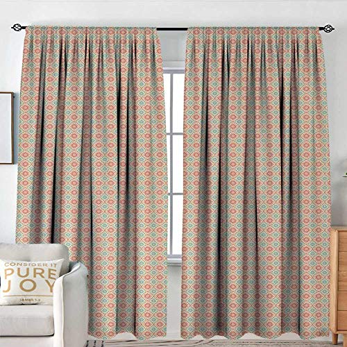 NUOMANAN Rod Pocket Curtains Vintage,Bicolor Geometric Pattern with Watercolor Stripes and Dots Brush Strokes,Pale Sea Green Coral,for Room Darkening Panels for Living Room, Bedroom 120