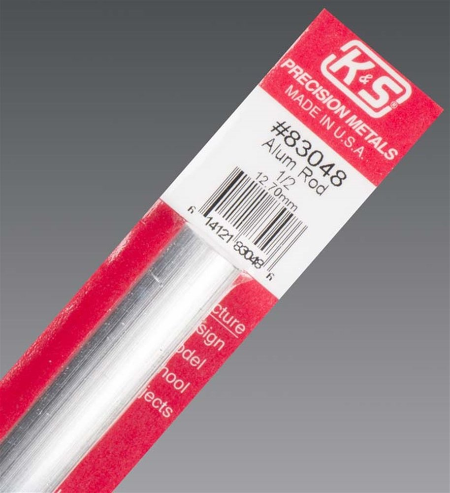 Made in USA 1 pc 1//2 OD x 12 Length 0.5 in OD K/&S Precision Metals 83048 Solid Round Aluminum Rod