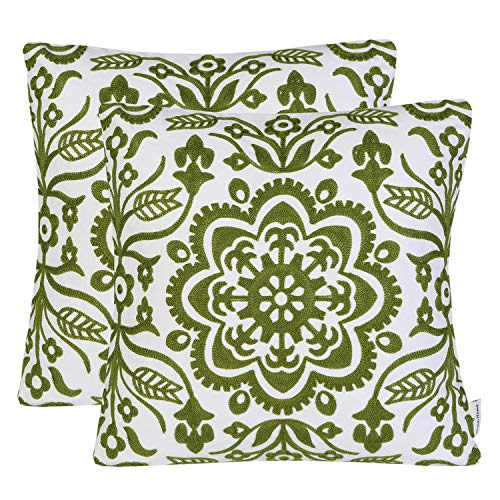 Mika Home Pack of 2 Embroidery Geometric Floral Decorative Square Throw Pillow Shells Cushion Covers for 18X18 Inserts Cotton Fabric Green - Green Floral Cushion