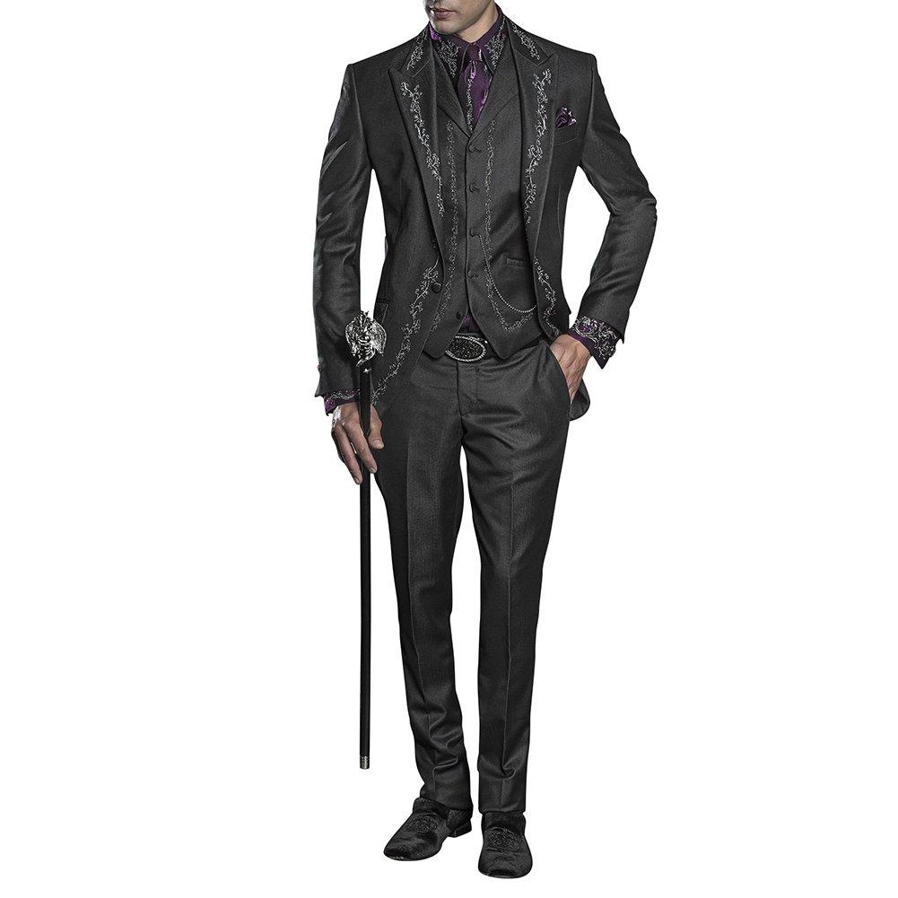 Judi Dench Tute da Uomo Abito Completo Uomo 3 Pezzi da Ricamo con Blazer Pantaloni Gilet