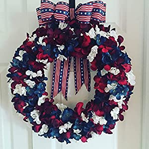 """Fourth of July Hydrangea Wreath18"""" Red White and Blue Summer Decor Red White and Blue Decoration Primitive America the Beautiful 52"""