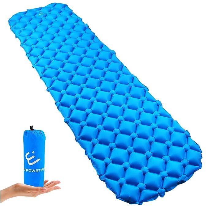 ELEPOWSTAR Colchón Inflable Camping,Colchón de Aire Ultraligero colchones inflables para Camping Senderismo Aire inflado Camping colchón en Azul: Amazon.es: ...
