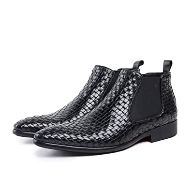 Men's Ankle High Boots Embossed Genuine Leather Plain Pointed Toe Rubber Sole Low Heel
