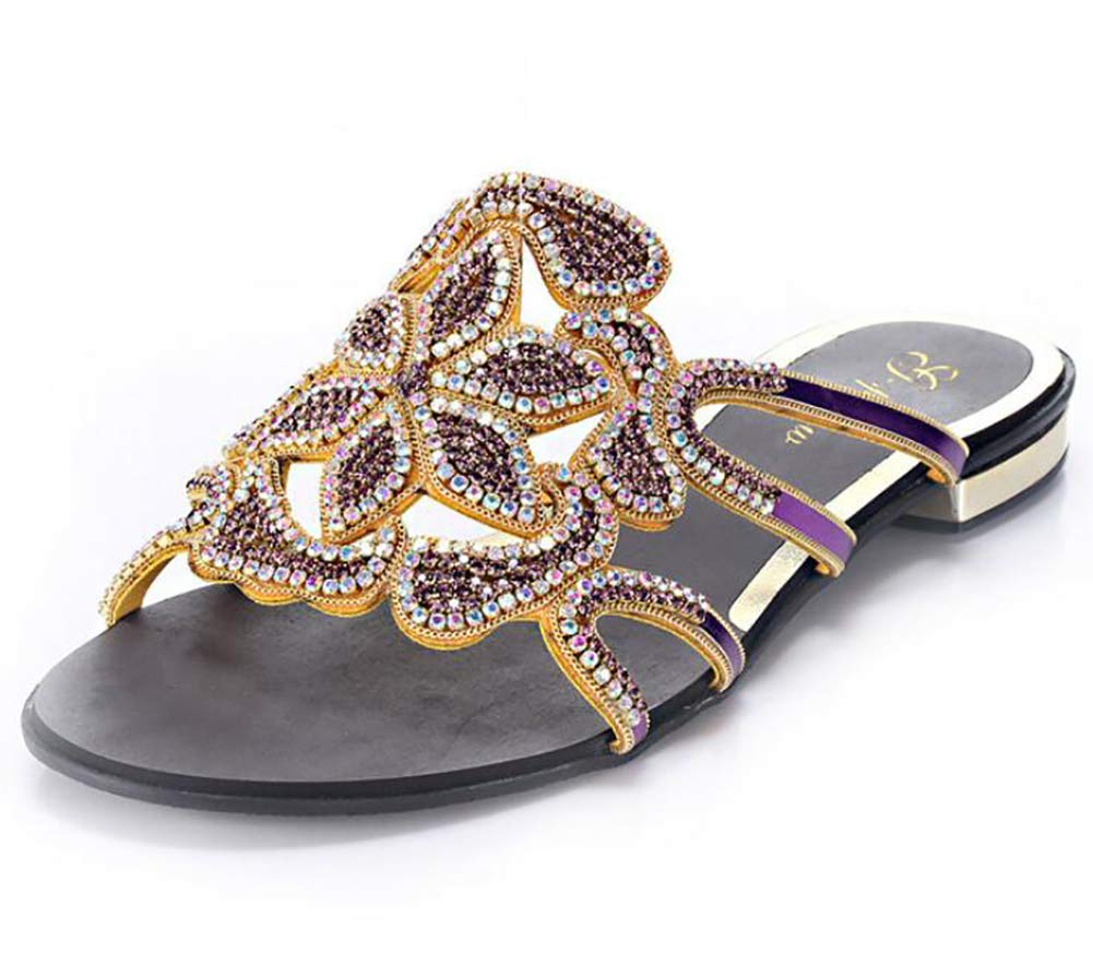 Purple Women's Sequins Sandals Pointed Flat Mouth shoes Elegant Bohemian Strass Summer Beach Square Holiday Stylish Slippers