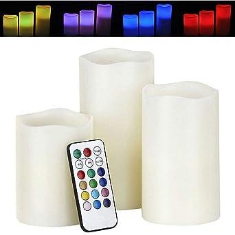 LED Kerzen Set 3-teilig mit Fernbedienung Farbwechsel