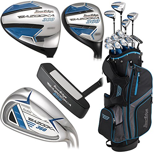 Tour Edge Male Bazooka 360 Box Set (Men's, Left Hand, Graphite, Uniflex, Full Set), black/ Blue, Full Set