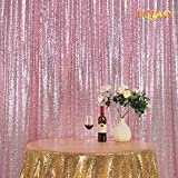 LQIAO Sequin Curtain 10X10FT-Pink Gold Sequin Backdrop Wedding Photo Booth Door Window Curtain for Halloween Party Wedding Decoration