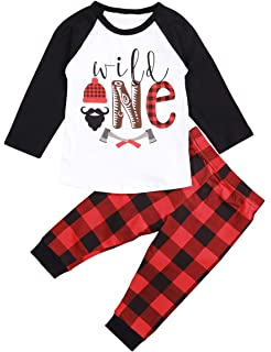 cc85a270452 Baby 1st Birthday Outfits Wild One Long Sleeve T-Shirt with Red Plaid Pant  and