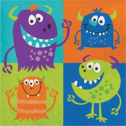 Club Pack of 192 Multicolored Fun Monsters Disposable Party Luncheon Napkins 6.5'' by Party Central