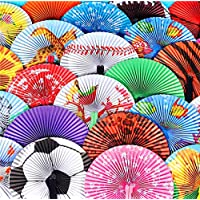 """Folding Handheld Fans Assortment For Kids, Bulk Pack of 48 Colorful Paper Fan Party Favors 10"""" - Great Prizes For Fun Parties - By 4E"""