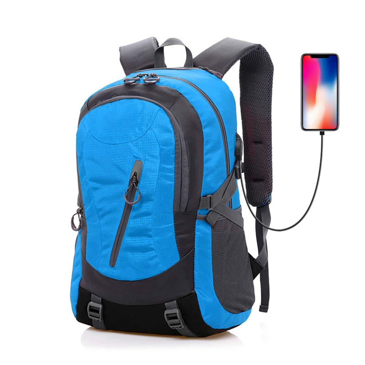 AHWZ 35l スポーツ アウトドア バックパック 防水 ハイキング バッグ メンズ レディース 旅行 バックパック USB充電ポート付き  ブルー B07L4L6NBF