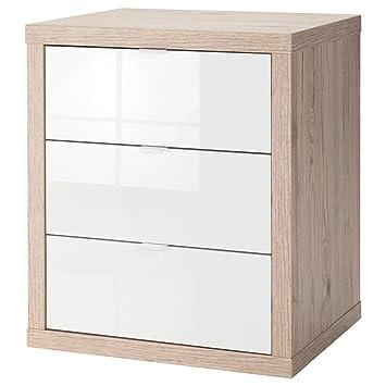 Composad cajonera Oficina con Tres cajones de Roble y Lacado en Color Blanco con Ruedas, única,