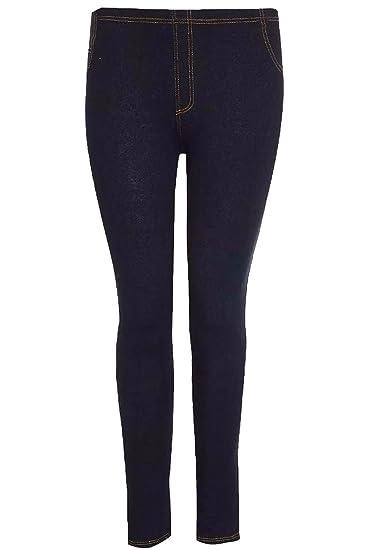 65bf8cb4d68 Rimi Hanger Women Stretchy Denim Look Jeggings Leggings Ladies Full Length Skinny  Denim Jeans S 5XL at Amazon Women s Clothing store