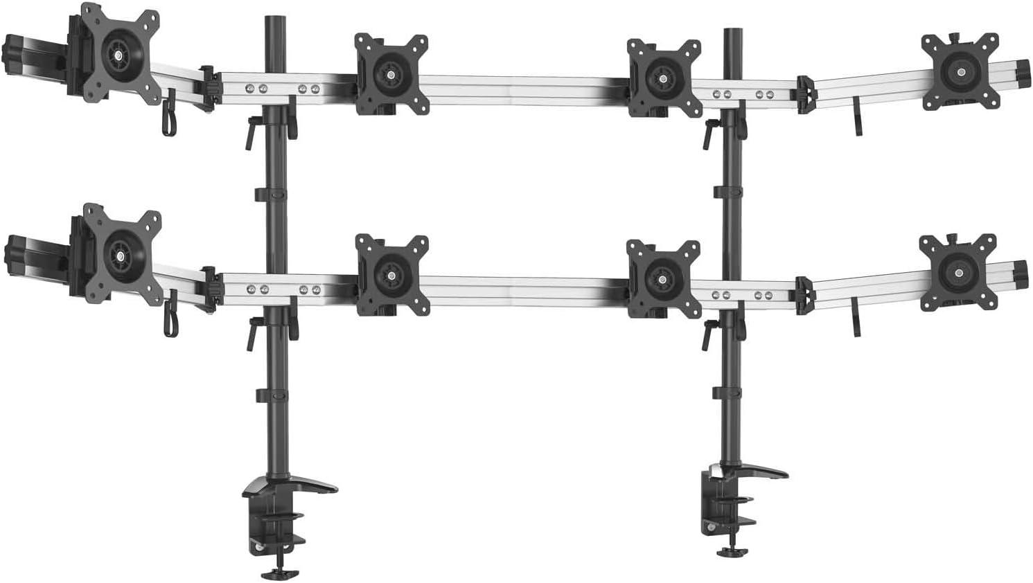 Hftek 8 Fach Monitorarm Tischhalterung Stand Halterung Halter Für 8 Bildschirme Von 15 27 Zoll Auf