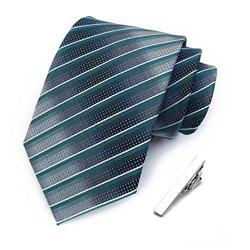 Men's Classic Stripe Jacquard Woven Silk Tie Formal Party Suit Necktie + Gift Tie Clip ()