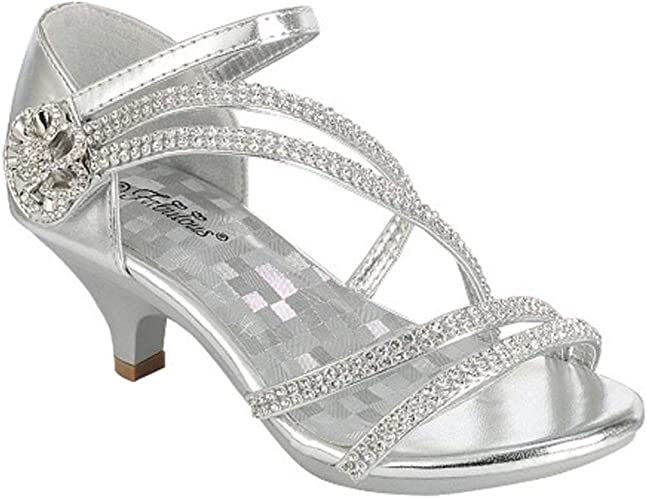 New girl back zipper dress shoes open toe special occasion formal Silver