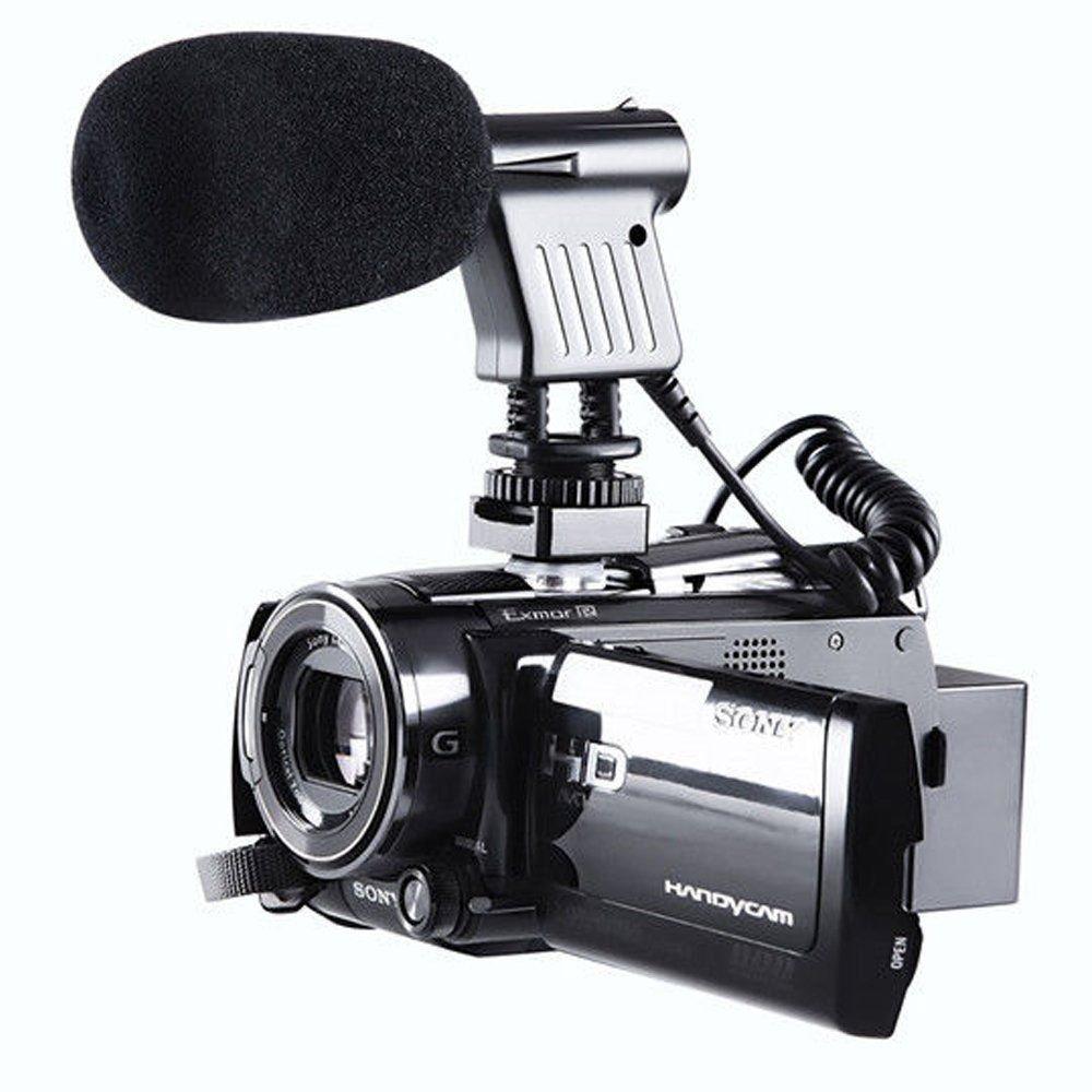 Yunchenghe BOYA BY-V02 X/Y Micrófono de condensador estéreo, para Canon 5D2 5D 6D 600DMark III 6D 600D para Nikon D800 D800E D810 D600 D300 D7000 para Sony DSLR Cámaras, Videocámaras