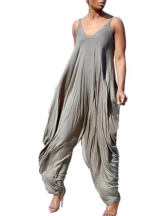 a64a6a5f9c05 Amazon.com  Ivrose Women Fashion Stretchy Spaghetti Strap Loose Jumpsuit   Clothing