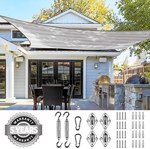 Quictent 8x12FT 185G HDPE Stripe Color Rectangle Sun Shade Sail Canopy 98 UV Block Outdoor Patio Garden with Hardware Kit 26 x 20 ft, White and Grey Multi