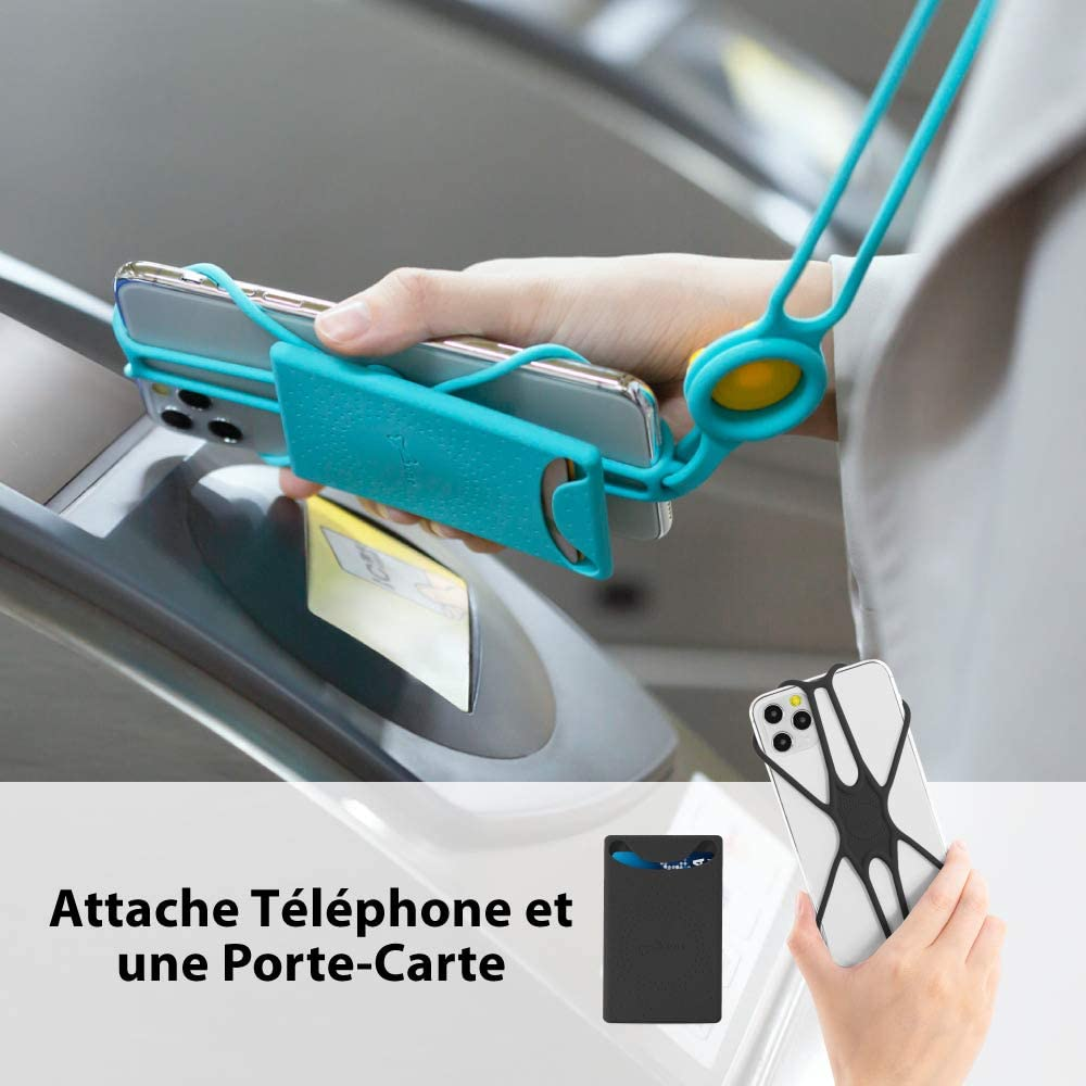 Etui Universel avec Cordon D/étachable Silicone Porte-Carte pour iPhone 11 Pro Max XS XR Galaxy S9 Note 9 Pixel 3 XL Smartphone de 4 /à 6.5 inch-Blanc Original Attache Tour de Cou T/él/éphone