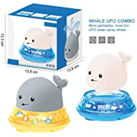 wentgo Baby Bath Toy, Floating Sprinkle Electric Induction Water Spray Toy Cute Water Spray Whale Bath Toy with LED…