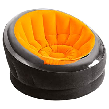 Intex - Sillón hinchable Empire 112 x 109 x 69 cm, naranja y negro (75851)