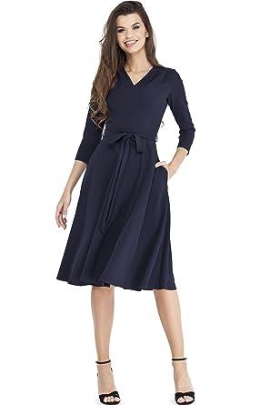 5af2bd7d4c5 VILONNA Women s Elegant 3 4 Sleeve V Neck Belted Semi Formal Midi Dress with  Pockets