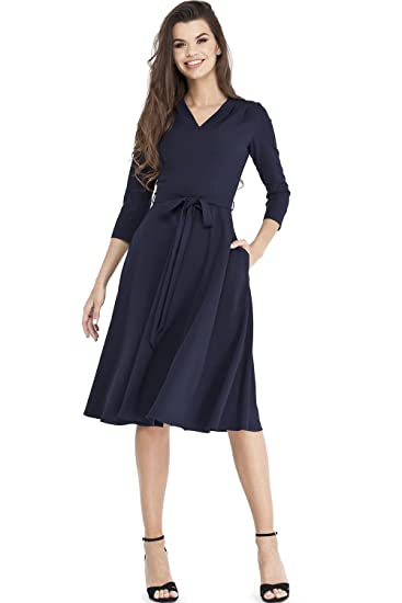 Review VILONNA Women's Elegant Modest 3/4 Sleeve V Neck Belted Semi Formal Midi Dress Pockets