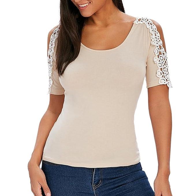 ASHOP Camisetas Muje, Camisetas Manga Corta Mujer Tallas Grandes EN Oferta Suelto Tops Blusas de Mujer Elegantes de Fiesta Baratas Sólido T-Shirt: ...