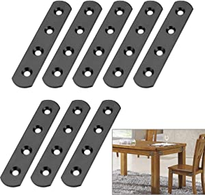 Sumnacon 4 Inch Stainless Steel Flat Plate - Heavy Duty Mending Plate Straight Corner Brace Brackets Connector Furniture Repair Fixing Joint with Screws, Black