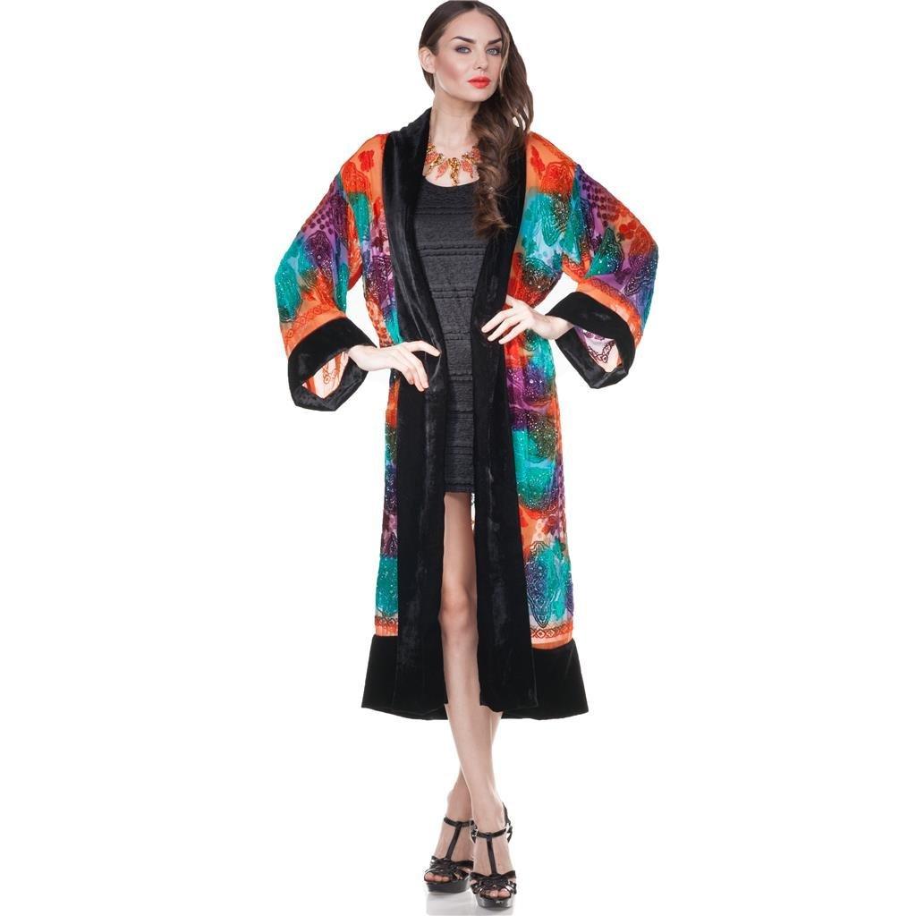 Aris A. Women's Bohemian Brocade Velvet Burnout Kimono