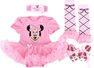 Baby Mickey Mouse Pettiskirt Bodysuit Jumpsuit Party Dress Shoes Headband 0-12M (6-12Month)