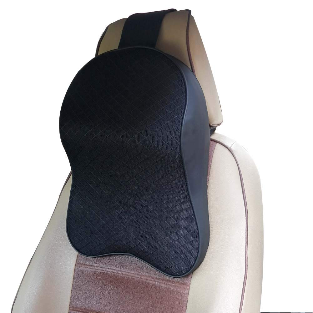 ZATOOTO Memory Foam Car Neck Pillow - Neck Support Headrest Pillow - Lumbar Support for Car Two-in-One Back Seat Cushion Black