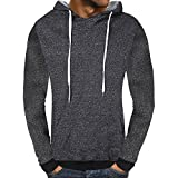 Mens Long Sleeve Blouses Clearance Men's Casual Autumn Solid Hooded Sweatshirt Outwear Tops Blouse By WEUIE(2XL, Dark Gray)