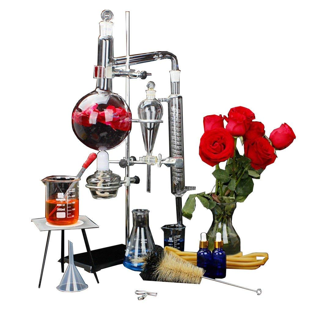 New 24pcs 1000ML Lab Essential Oil Extraction Distillation Apparatus Water Distiller Purifier Glassware Kits Hydrosol, Moonshine, Alcohol Distiller