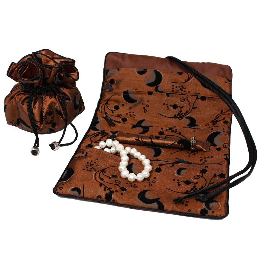 Serena Travel Set Jewelry Organizer Soft Silky Abstract Floral Burnt Orange