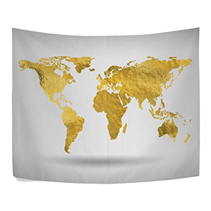Amazon gold world map golden land polyester house tapestries gold world map golden land polyester house tapestries room dcor 90x60 inch style decorative wall blanket gumiabroncs Images