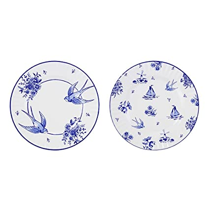 Talking Tables Willow Pattern Vintage Style Large Disposable Plates 8 count for a Birthday  sc 1 st  Amazon.com : large disposable plates - pezcame.com