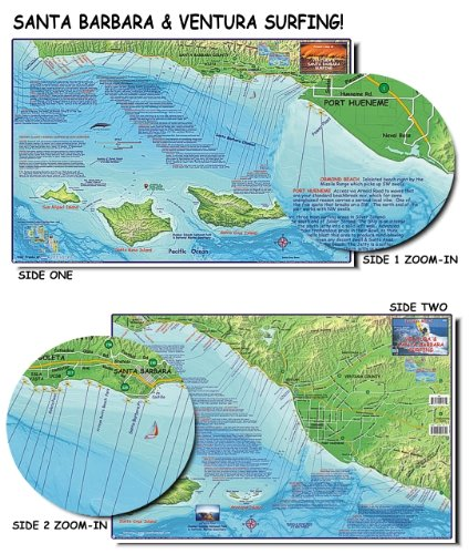 (Franko's Maps, Franko's Surf Maps, Surf Maps, Surfing Maps, Santa Barbara Surfing, Santa Barbara Surf, Surf Spots, Authorized Dealer Full Warranty, Santa Barbara County Surfing, Ventura Surf Map, Fold-Up)