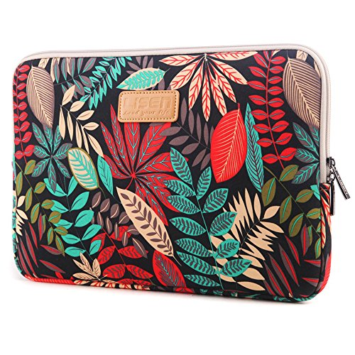 CoolBELL 13.3 Inch Laptop Sleeve Case with Colorful Leaves Pattern Ultrabook Sleeve MacBook Bag for Acer/Asus/Dell/iPad Pro/Lenovo/MacBook Pro/MacBook Air/Surface Pro 4/Women/Men/Teens,Black