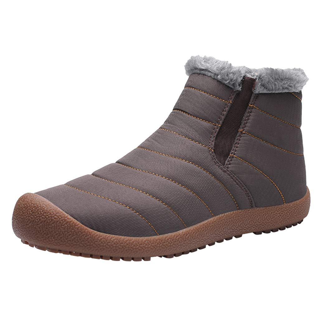 ◆◇ HebeTop◇◆ Mens Winter Snow Boots Warm Fur Lined Ankle Boots Anti-Slip Waterproof Outdoor Booties Slip On Sneakers Shoes by HebeTop➟Shoes Accessory