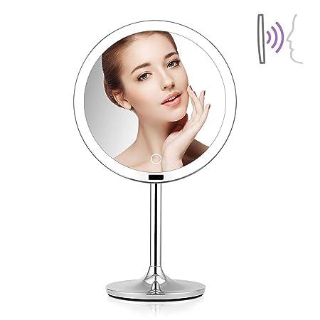 Allyine Espejo con Luz para Maquillaje,Sensor Espejo de Mesa 360 ...