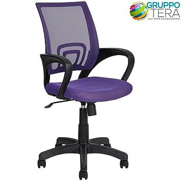 Bakaji, silla de escritorio, sillón giratorio de oficina con reposabrazos y ruedas, de altura regulable y en color morado: Amazon.es: Hogar