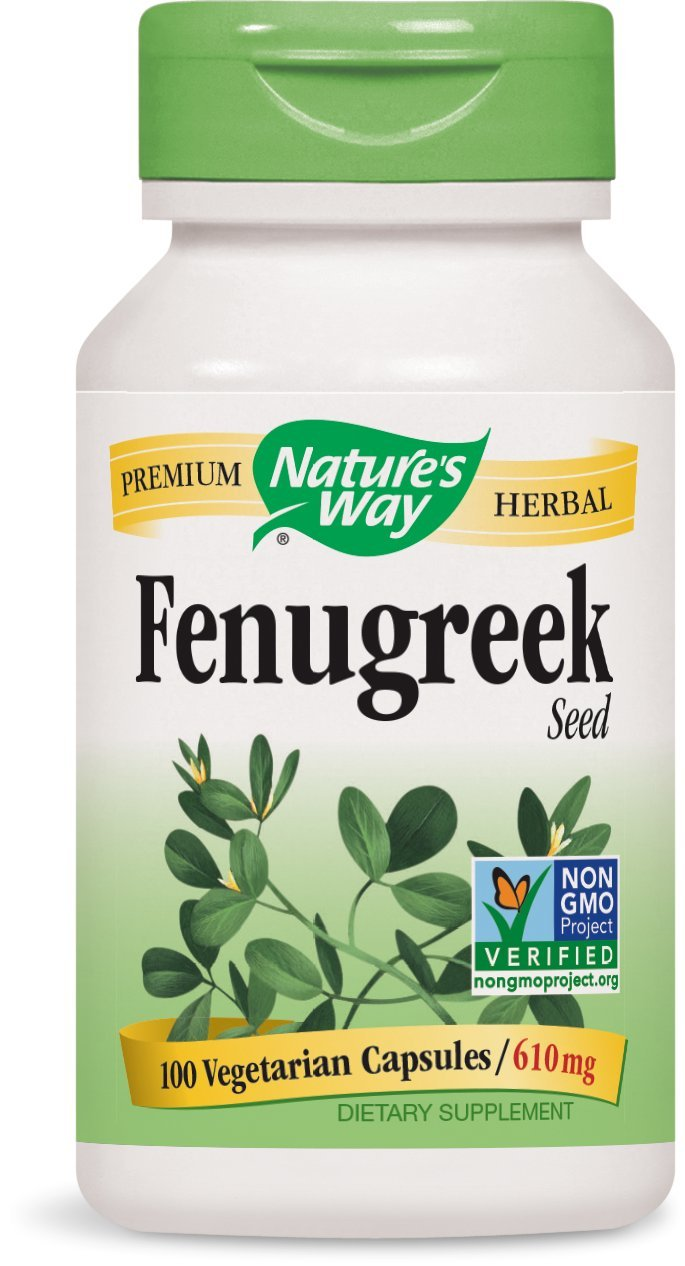 Nature's Way Premium Herbal Fenugreek Seed 610 mg per Vegetarian capsule, 100 Count