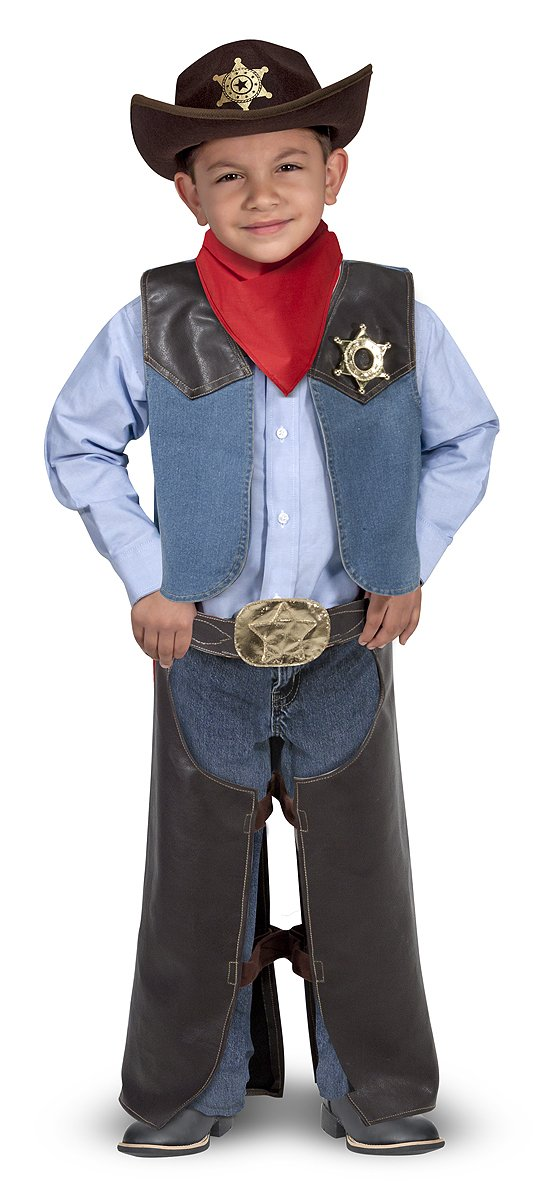 Melissa & Doug Cowboy Role Play Costume Set (5 pcs) - Includes Faux Leather Chaps 4273 Non-Classifiable